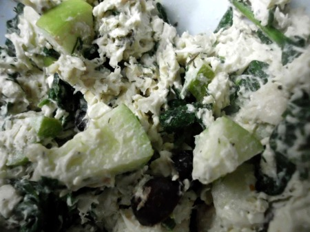 chicken salad with spinach, green apple, and dill